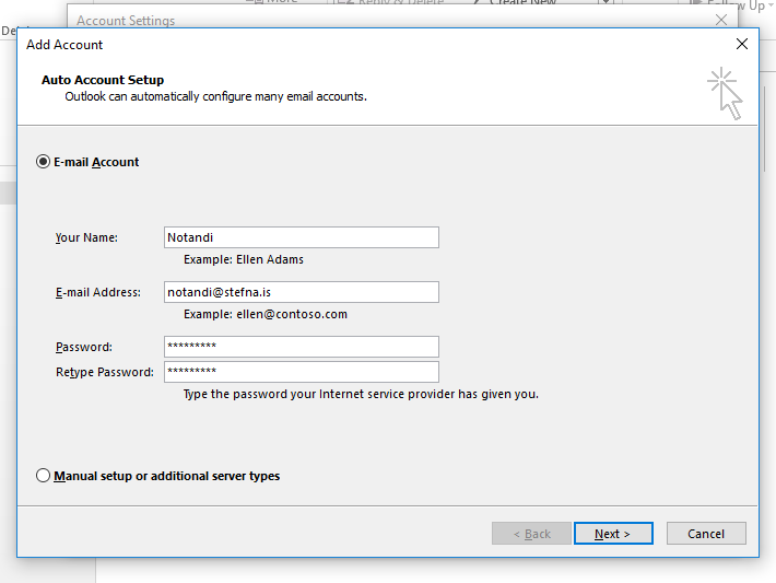 Outlook new mailbox auto config