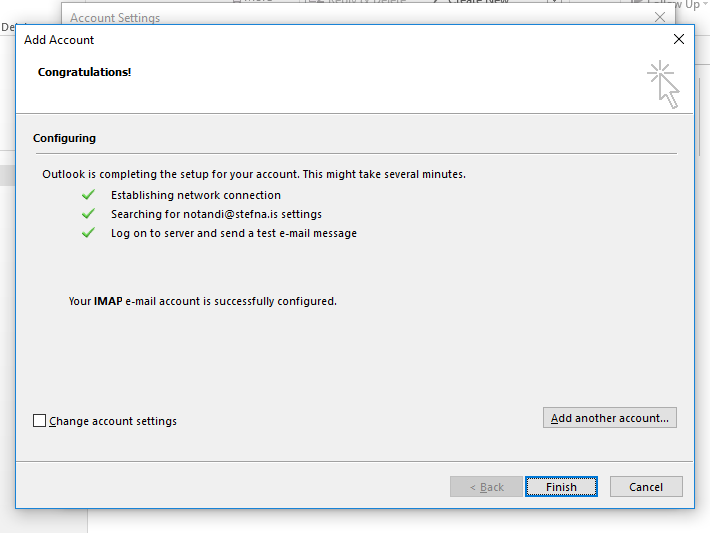 Outlook new mailbox auto config finished