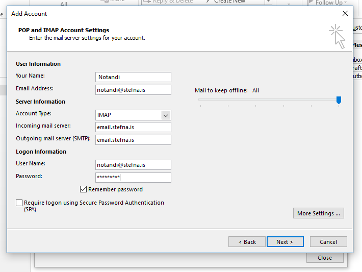 Outlook IMAP settings