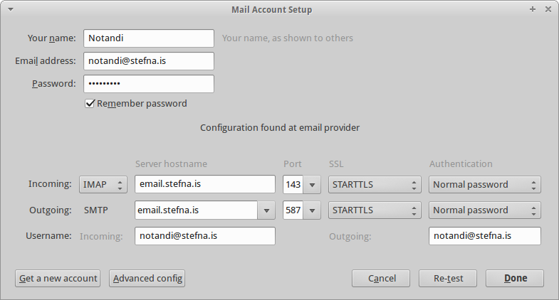 Mail Account Setup - Manual config
